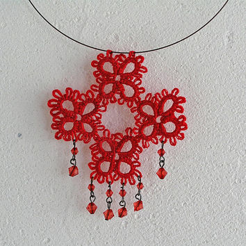 Tatted Lace red pendant, Necklace, Tatting, shuttle, Frivolite, Handmade, Jewellery, pendant, Boho, Folk, Fibre, Goth, steampunk,  Womens
