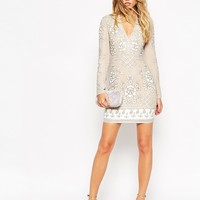 Needle & Thread Graphic Rose All Over Embellished Mini Dress