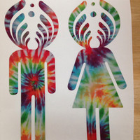 Bassnectar Basshead Girl and Guy Decal Bassnectar Sticker Tie Dye Print