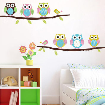 DIY 3D Removable Colorful Owls/Bird Branch Vinyl Wall Decal