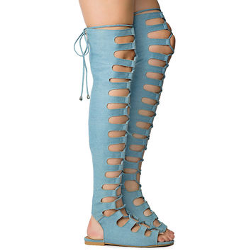 Denim Open Lace Up Front Thigh High Gladiator Sandals