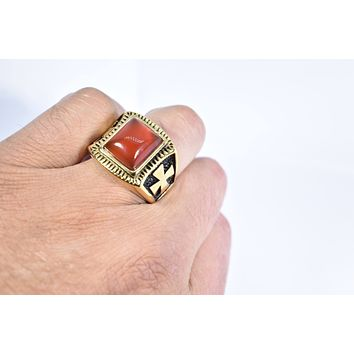 Vintage 1980's Gothic Gold Finished Genuine Red Carnelian Cross Men's Ring