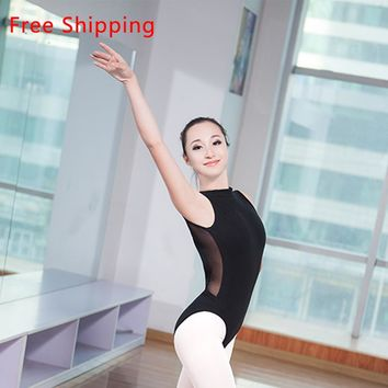 New Cotton Spandex Sleeveless Ballet Leotard Suit Sexy Lace High Neck Open Back Women Adult Girls Dance Ballet Leotard