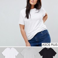 ASOS CURVE Ultimate T-Shirt with Crew Neck 3 Pack Save 15% at asos.com