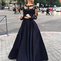 A-Line Prom Dresses,Black Prom Dress,Long Evening Dress