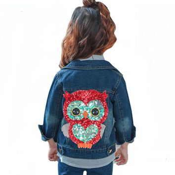 Children Clothes 2-6Y Girls Jeans Coat 2018 Baby Girl Denim Jacket Sequined Owl Fashion Outwear For Boys and Girls Jeans Jackets