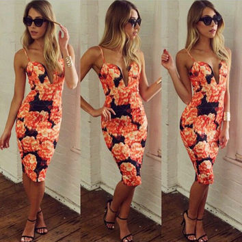 Print Bandage Bodycon Party Knee-length Dress