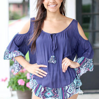 Navy Patterned Ruffle Top