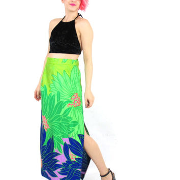 70s Neon Floral Maxi Skirt Psychedelic High Waist Skirt Hippie Tropical Floral Print Skirt Lime Green Royal Blue Boho Resort Vacation (L)