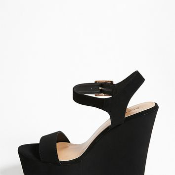 Buckle-Strap Wedge Sandals
