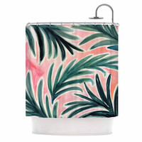 "Crystal Walen ""Lush Palm Leaves "" Green Pink Shower Curtain"
