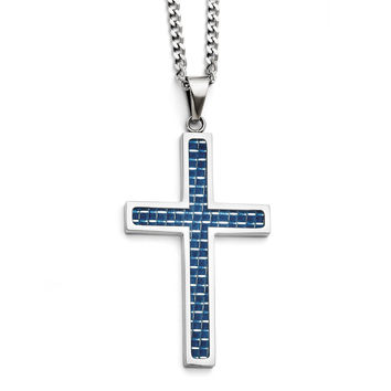 Stainless Steel Blue Carbon Fiber Inlay Polished Large Cross Necklace SRN1302