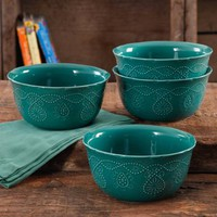 The Pioneer Woman Cowgirl Lace Transparent Glaze 4-Pack Bowls - Walmart.com