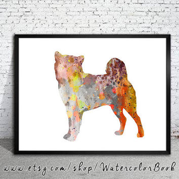 Shiba Inu 4 Watercolor Print, Shiba Inu art, dog watercolor, dog art, watercolor painting, animal art, Shiba Inu Illustration, art print