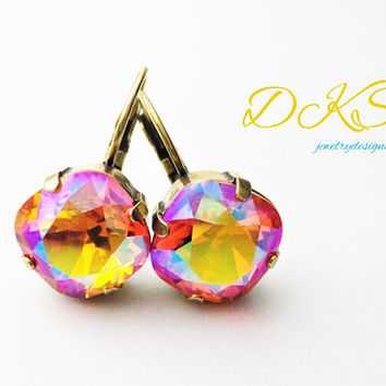 Fire Opal, Swarovski Earrings, 12mm, Square, Cushion Cut, Antique Gold, Lever Backs, Drops, DKSJewelrydesigns, FREE SHIPPING