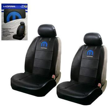 Licensed Official New Blue Mopar Logo Synthetic Leather Sideless Car Truck Front Seat Covers Set
