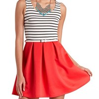 SOLID & STRIPED BELTED SKATER DRESS
