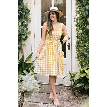 Bonnie Yellow Plaid Midi Dress