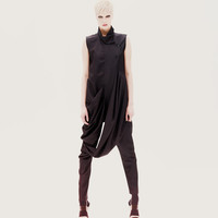 Amazing, deconstructive loose black jumpsuit  made from polyester and cotton.