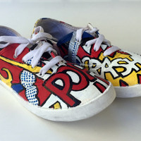 Hand Painted Canvas Shoes - Lichtenstein Pop Art Shoes