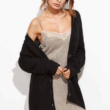 Black Cable Knit Button Up Cardigan | MakeMeChic.COM