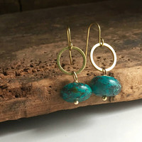 Turquoise Drop Earrings, Brass Earrings, Dangle and Drop Earrings, Hoop Earrings, Etsy, Etsy Jewelry