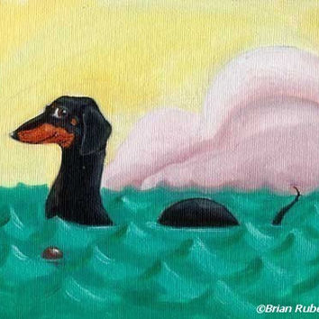 Dachshund art print, The Dach-ness Monster - Dachshund dog art