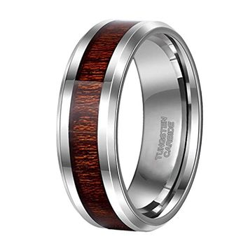 CERTIFIED 8mm Tungsten with Wood Inlay Vintage Style Comfort Fit Silver Wedding Band