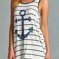 Navy Floral Anchor Bow Tank Top