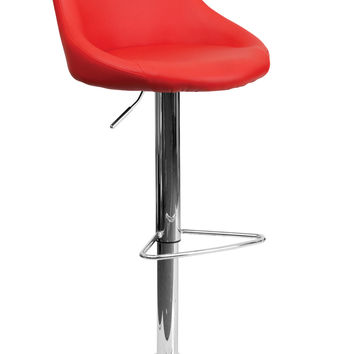 Contemporary Red Vinyl Bucket Seat Adjustable Height Bar Stool with Chrome Base [CH-82028-MOD-RED-GG]