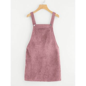 Bib Pocket Front Overall Dress Pink