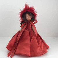 Storybook Doll, Nancy Ann, Winter Seasons Series 93, Red Dress, Vintage Doll