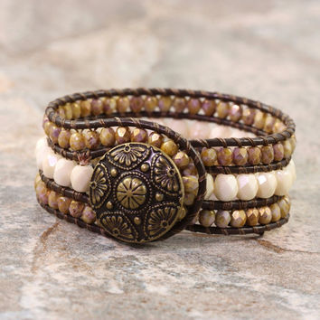 Brown Leather Cuff Bracelet Bohemian Fashion Western Style Wrap Cream Bronze Boho Jewelry Made To Order Custom Bracelet Hippie Jewelry
