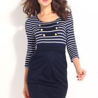 Long-sleeved Sailor Striped Mini Dress with Gold Buttons Details