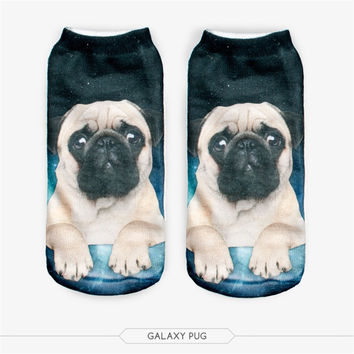 2016 New Meias Man Women Sock Casual Cute Harajuku Funny Dog Cat Socks Unisex Low Cut Ankle Socks Multiple Colors Style 3D Socks