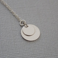 VALENTINE'S DAY, Silver Necklace, Two Flat Disc Graduated Charm Necklace Layered Silver Circle Simple Modern