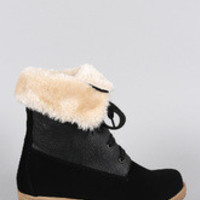 Women's Shearling Cuff Hiking Ankle Boots