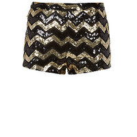 Parisian Black and Gold Chevron Sequin Hot Pants