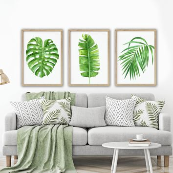 WATERCOLOR Monstera LEAF Wall Art, Watercolor Banana Leaf Living Room Art, Botanical Tropical Watercolor Pictures Set of 3 Canvas or Print