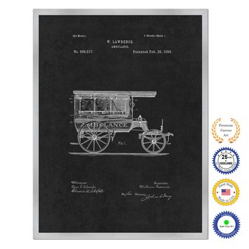1889 Doctor Ambulance Antique Patent Artwork Silver Framed Canvas Home Office Decor Great for Doctor Paramedic Surgeon Hospital Medical Student