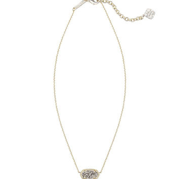 Kendra Scott Elisa Gold Pendant Necklace in Platinum Drusy 15 inch w/ 2 inch extender