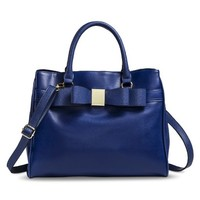 Women's Bow Satchel Handbag with Removable Strap - Blue