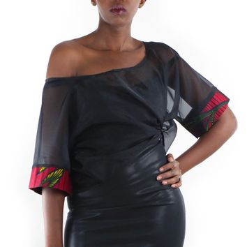 African Print Sheer Crop Kimono Top -Red /Black Floral Print