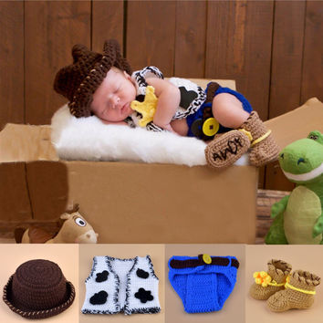 3 pc Disney Toy Story Andy Baby Crochet Outfit Newborn Photography Baby Hats Child Clothing and Accessories