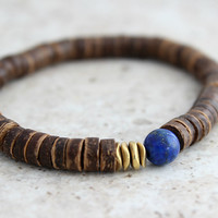 Lapis Lazuli Bracelet, Mens Bracelet, Yoga Bracelet, Yoga Jewelry, Coconut Bead, Energy Bracelet, Yoga Meditation Gift for Man, Yoga Gifts