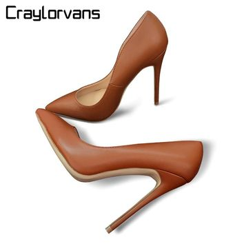Craylorvans Top Quality Women High Heels Sexy Thin Heels Pumps Brown Color Women Party Shoes Fashion Chaussure Femme Mariage