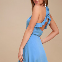 Morning Glory Light Blue Wrap Dress