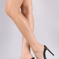 Double Clear Band Mule Rectangle Heel