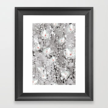 White Snow Flowers Framed Art Print by Smyrna