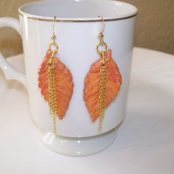 AROMA THERAPY EARRINGS, Handmade Clay Fall Leaves with Gold Accents, Personal Diffuser Earrings, Gold Accents and Earwires, Essential Oil